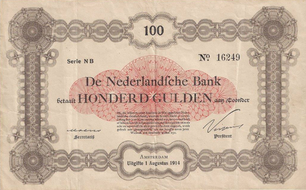 100 gulden 1914 bankbiljet 115 1 theo peters numismatiek for Gulden interieur b v