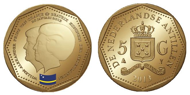 5 gulden 2013 dubbelportret cura ao nederlandse antillen for Gulden interieur b v