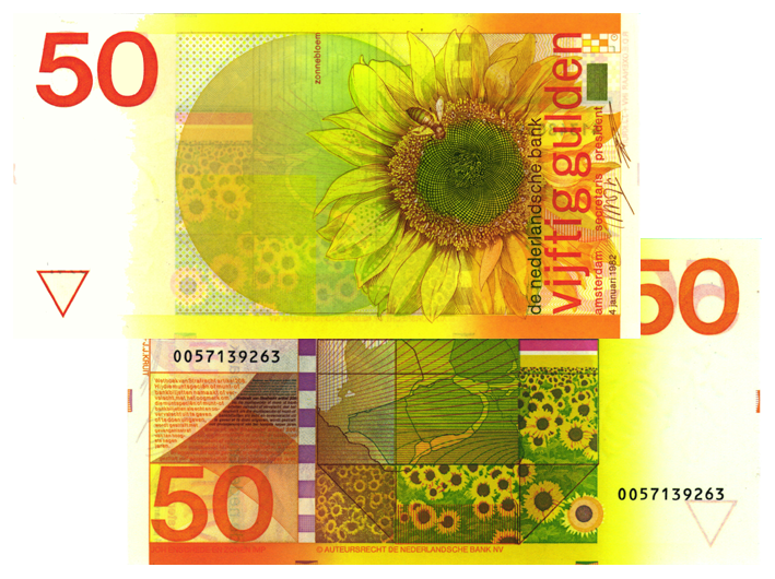 50 gulden 1982 zonnebloem 100 1 theo peters numismatiek for Gulden interieur b v