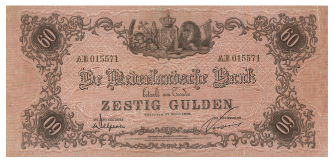 60 gulden 1860 bankbiljet 106 10 theo peters numismatiek for Gulden interieur b v